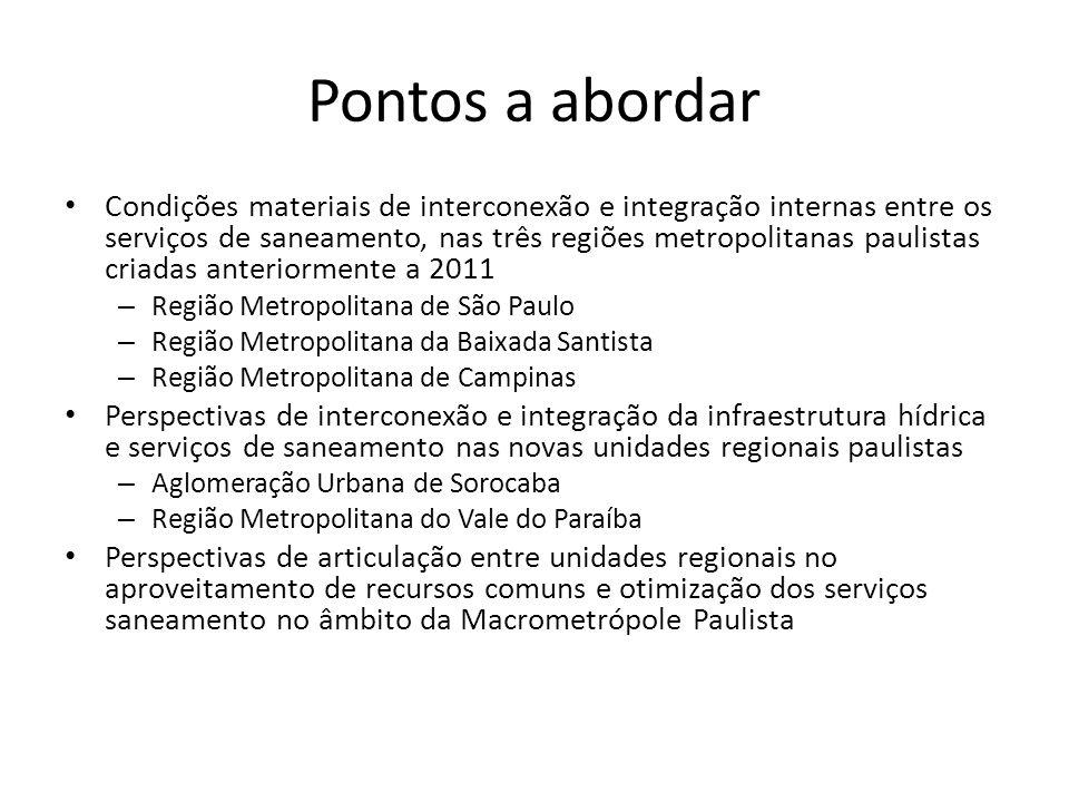 Pontos a abordar Condições materiais de interconexão e integração internas entre os serviços de saneamento, nas três regiões metropolitanas paulistas