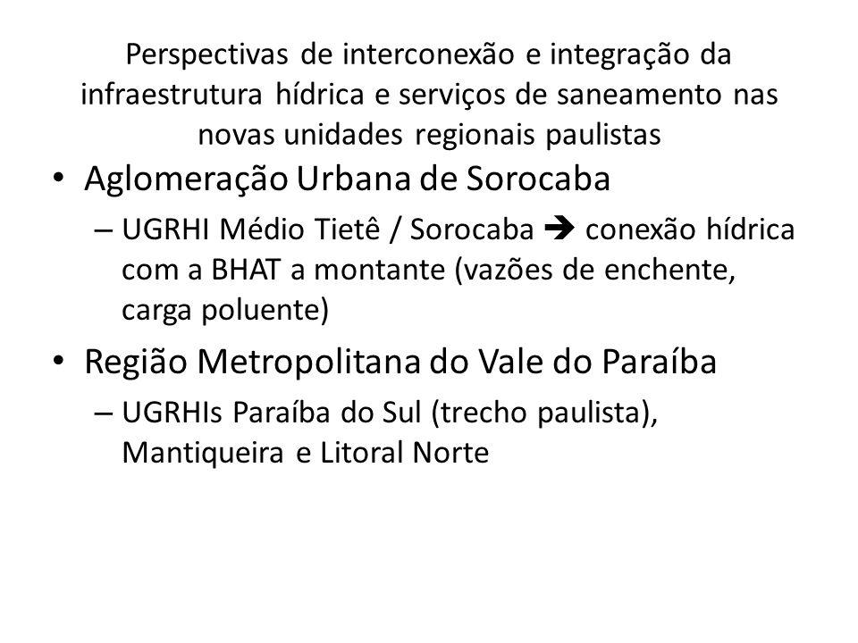 Perspectivas de interconexão e integração da infraestrutura hídrica e serviços de saneamento nas novas unidades regionais paulistas Aglomeração Urbana