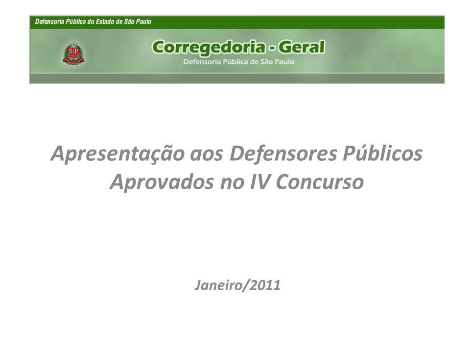 Janeiro/2011 Apresentação aos Defensores Públicos Aprovados no IV Concurso