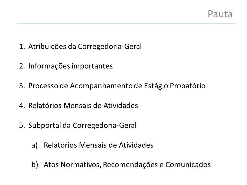 Pauta 1.Atribuições da Corregedoria-Geral 2.Informações importantes 3.Processo de Acompanhamento de Estágio Probatório 4.Relatórios Mensais de Ativida