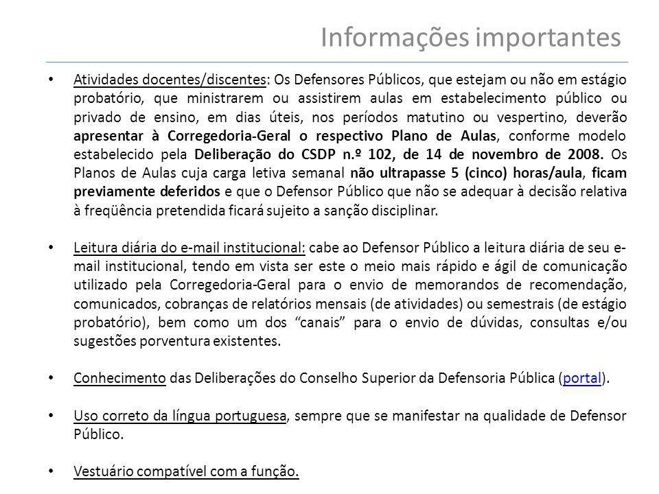 Informações importantes Atividades docentes/discentes: Os Defensores Públicos, que estejam ou não em estágio probatório, que ministrarem ou assistirem