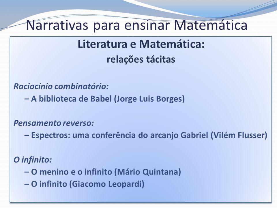 Literatura e Matemática: relações tácitas Raciocínio combinatório: – A biblioteca de Babel (Jorge Luis Borges) Pensamento reverso: – Espectros: uma co