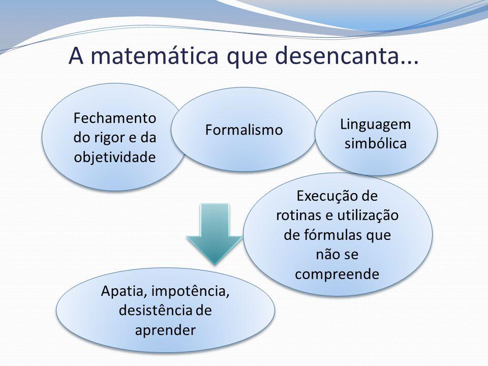 A matemática que desencanta... Fechamento do rigor e da objetividade Execução de rotinas e utilização de fórmulas que não se compreende Apatia, impotê