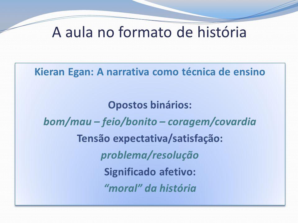 A aula no formato de história Kieran Egan: A narrativa como técnica de ensino Opostos binários: bom/mau – feio/bonito – coragem/covardia Tensão expect