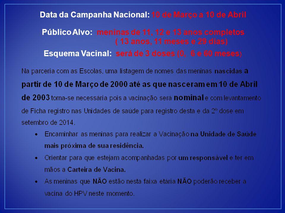 Data da Campanha Nacional: 10 de Março a 10 de Abril Público Alvo: meninas de 11, 12 e 13 anos completos ( 13 anos, 11 meses e 29 dias) Esquema Vacinal: será de 3 doses (0, 6 e 60 meses )