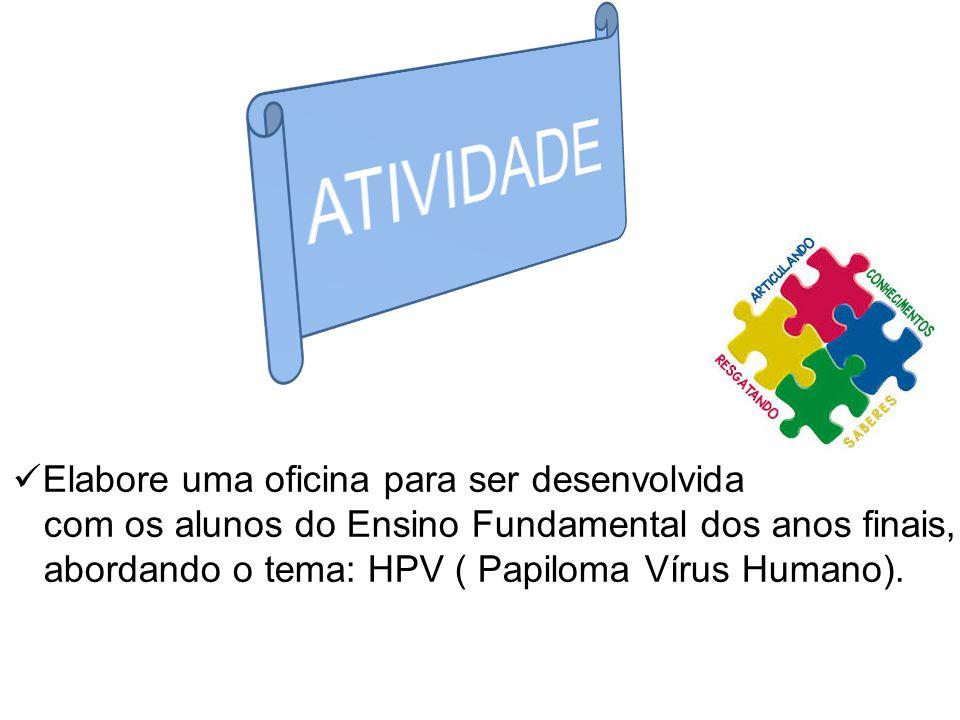Elabore uma oficina para ser desenvolvida com os alunos do Ensino Fundamental dos anos finais, abordando o tema: HPV ( Papiloma Vírus Humano).