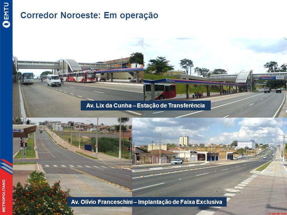 Corredor Noroeste: Em operação Av.Lix da Cunha – Estação de Transferência Av.