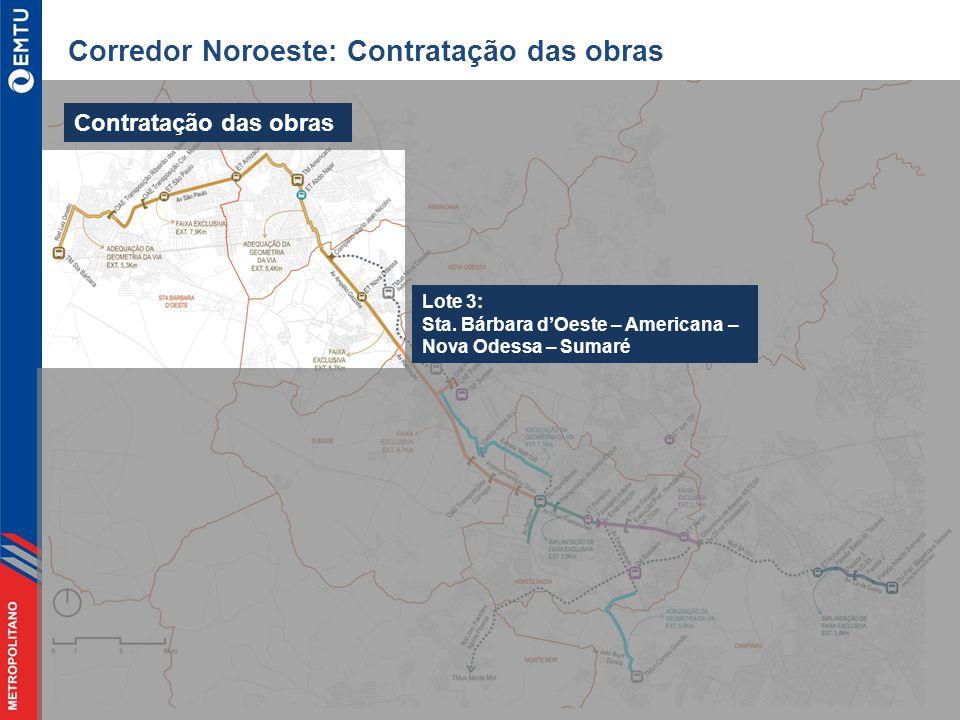 Corredor Noroeste: Contratação das obras Contratação das obras Lote 3: Sta.