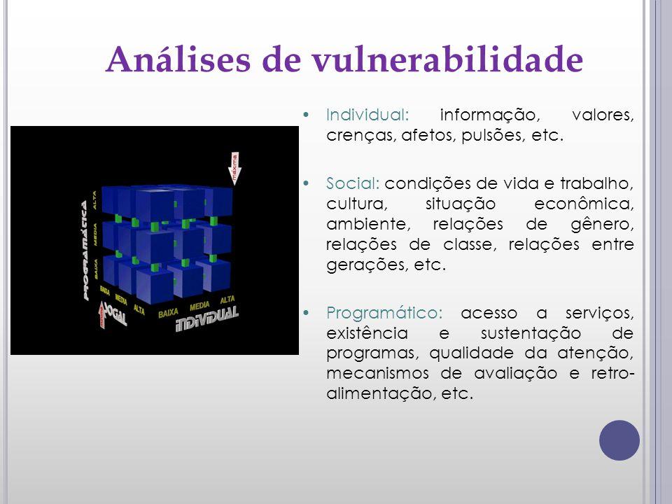 Análises de vulnerabilidade Individual: informação, valores, crenças, afetos, pulsões, etc. Social: condições de vida e trabalho, cultura, situação ec