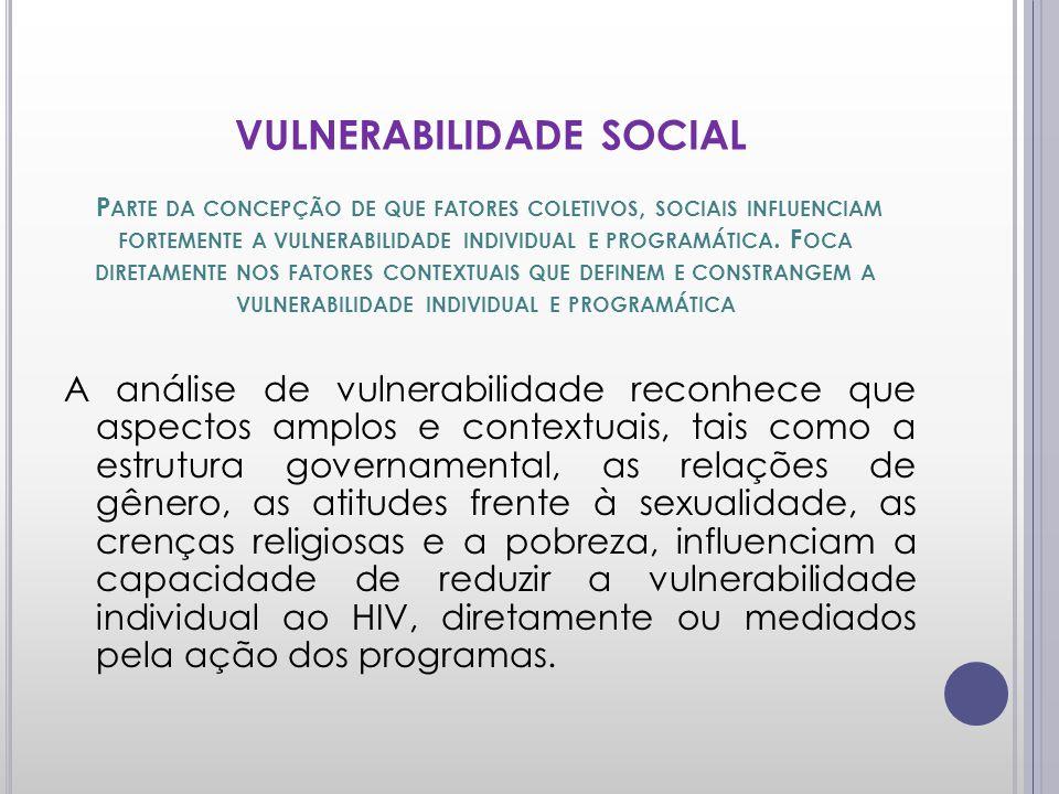 VULNERABILIDADE SOCIAL P ARTE DA CONCEPÇÃO DE QUE FATORES COLETIVOS, SOCIAIS INFLUENCIAM FORTEMENTE A VULNERABILIDADE INDIVIDUAL E PROGRAMÁTICA.