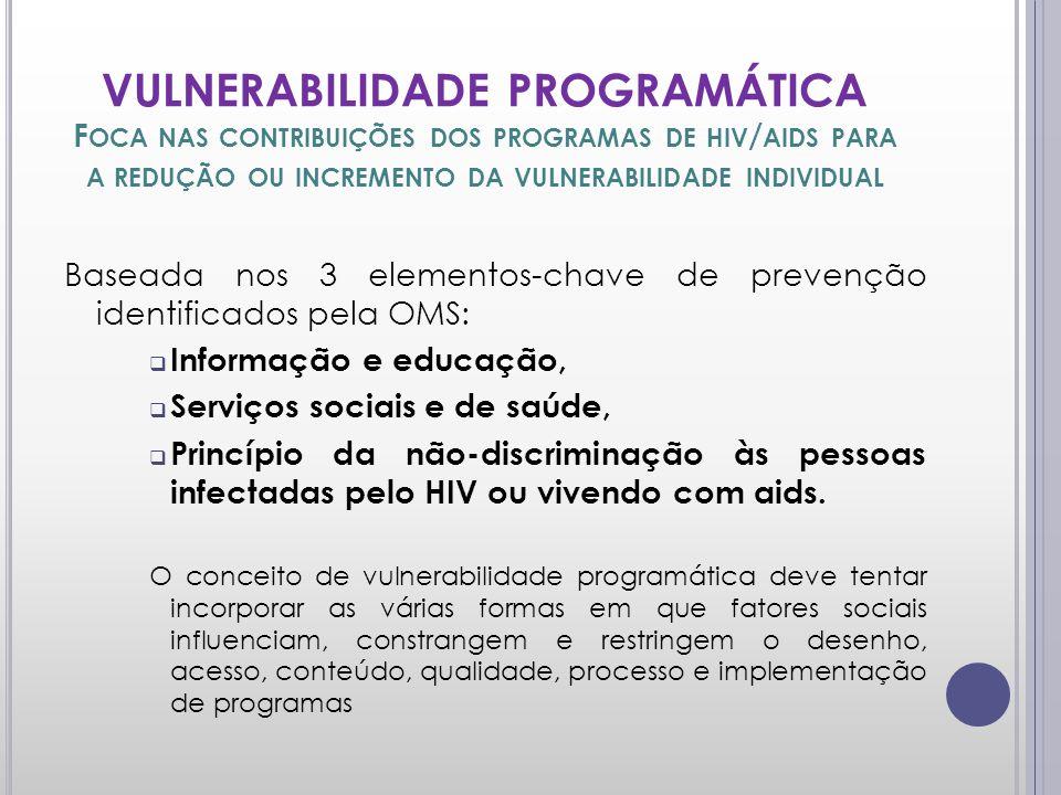 VULNERABILIDADE PROGRAMÁTICA F OCA NAS CONTRIBUIÇÕES DOS PROGRAMAS DE HIV / AIDS PARA A REDUÇÃO OU INCREMENTO DA VULNERABILIDADE INDIVIDUAL Baseada nos 3 elementos-chave de prevenção identificados pela OMS: Informação e educação, Serviços sociais e de saúde, Princípio da não-discriminação às pessoas infectadas pelo HIV ou vivendo com aids.