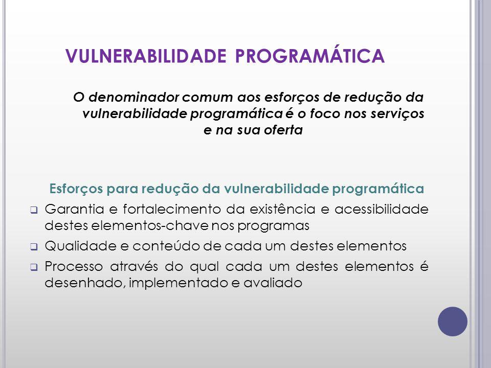 VULNERABILIDADE PROGRAMÁTICA O denominador comum aos esforços de redução da vulnerabilidade programática é o foco nos serviços e na sua oferta Esforço