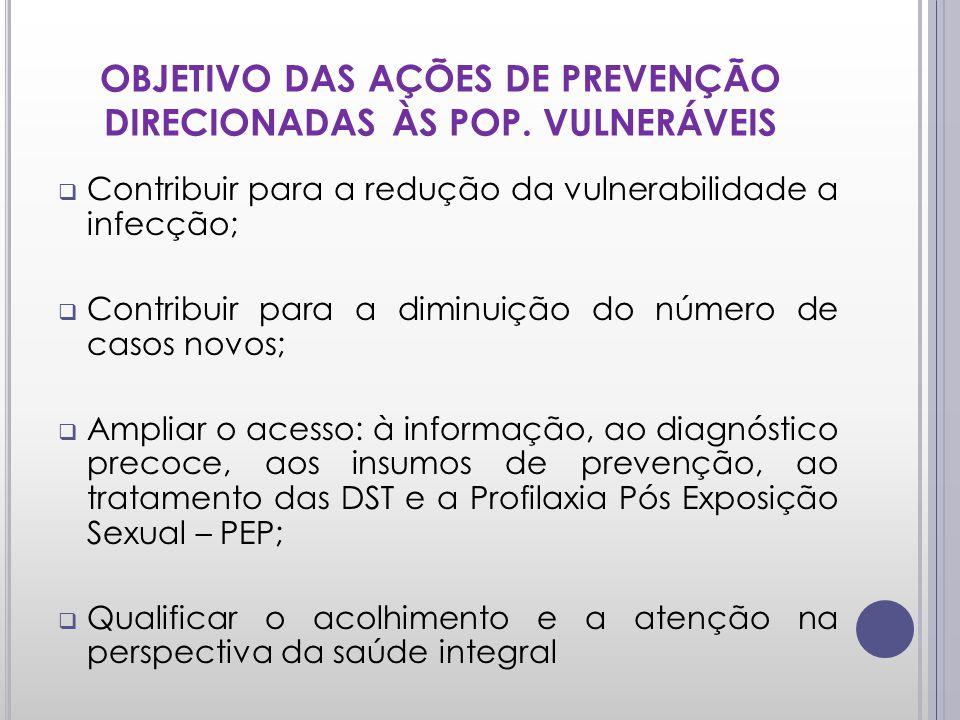 OBJETIVO DAS AÇÕES DE PREVENÇÃO DIRECIONADAS ÀS POP. VULNERÁVEIS Contribuir para a redução da vulnerabilidade a infecção; Contribuir para a diminuição