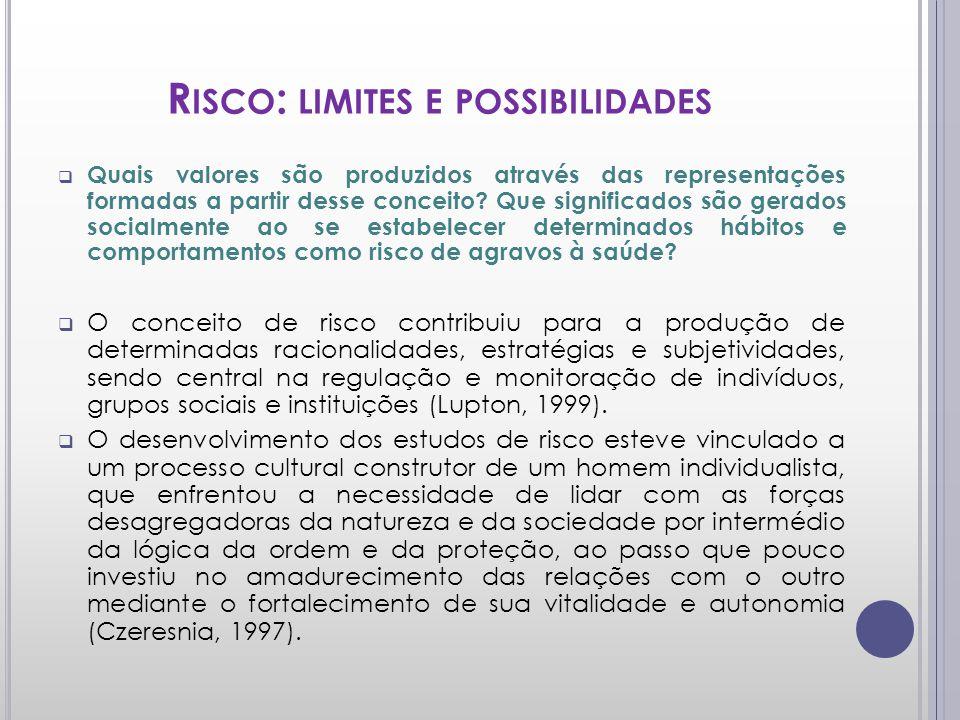 R ISCO : LIMITES E POSSIBILIDADES Quais valores são produzidos através das representações formadas a partir desse conceito? Que significados são gerad
