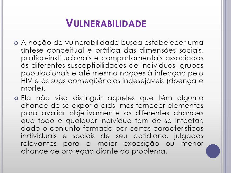 V ULNERABILIDADE A noção de vulnerabilidade busca estabelecer uma síntese conceitual e prática das dimensões sociais, político-institucionais e compor