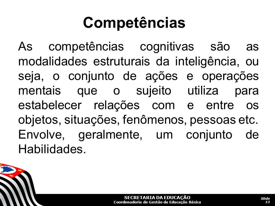 SECRETARIA DA EDUCAÇÃO Coordenadoria de Gestão da Educação Básica Slide 13 As competências cognitivas são as modalidades estruturais da inteligência,