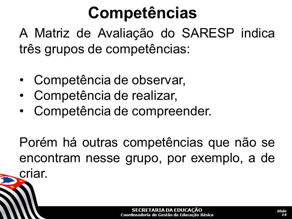 SECRETARIA DA EDUCAÇÃO Coordenadoria de Gestão da Educação Básica Slide 14 A Matriz de Avaliação do SARESP indica três grupos de competências: Competê