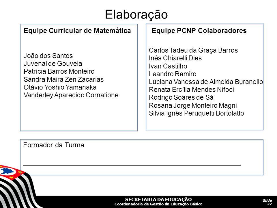 SECRETARIA DA EDUCAÇÃO Coordenadoria de Gestão da Educação Básica Slide 27 Elaboração Equipe Curricular de Matemática João dos Santos Juvenal de Gouve