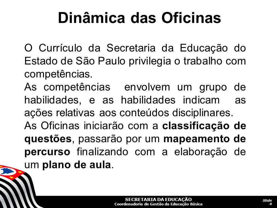 SECRETARIA DA EDUCAÇÃO Coordenadoria de Gestão da Educação Básica Slide 4 O Currículo da Secretaria da Educação do Estado de São Paulo privilegia o tr