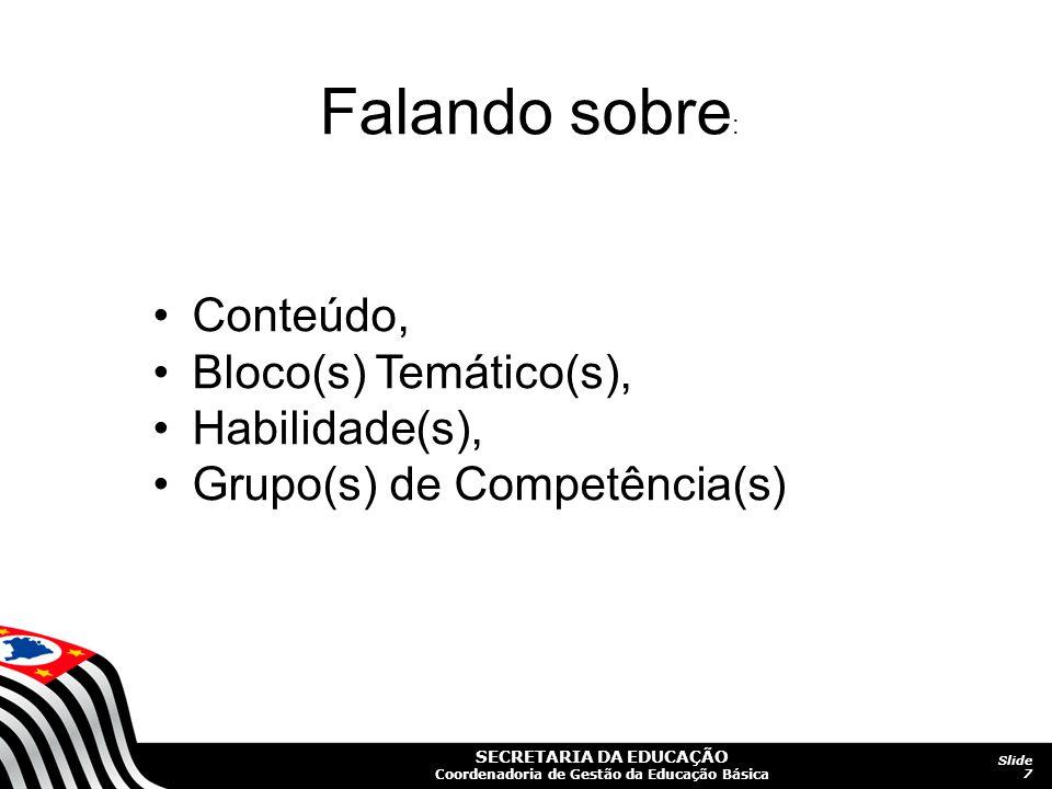 SECRETARIA DA EDUCAÇÃO Coordenadoria de Gestão da Educação Básica Slide 7 Conteúdo, Bloco(s) Temático(s), Habilidade(s), Grupo(s) de Competência(s) Fa
