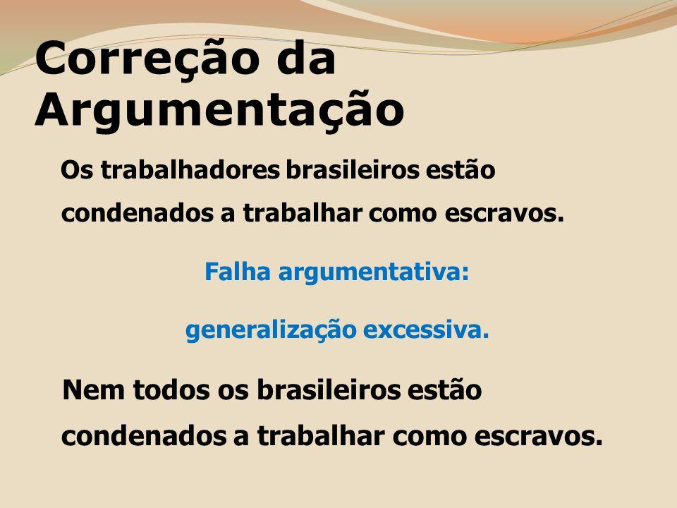 Correção da Argumentação Os trabalhadores brasileiros estão condenados a trabalhar como escravos.