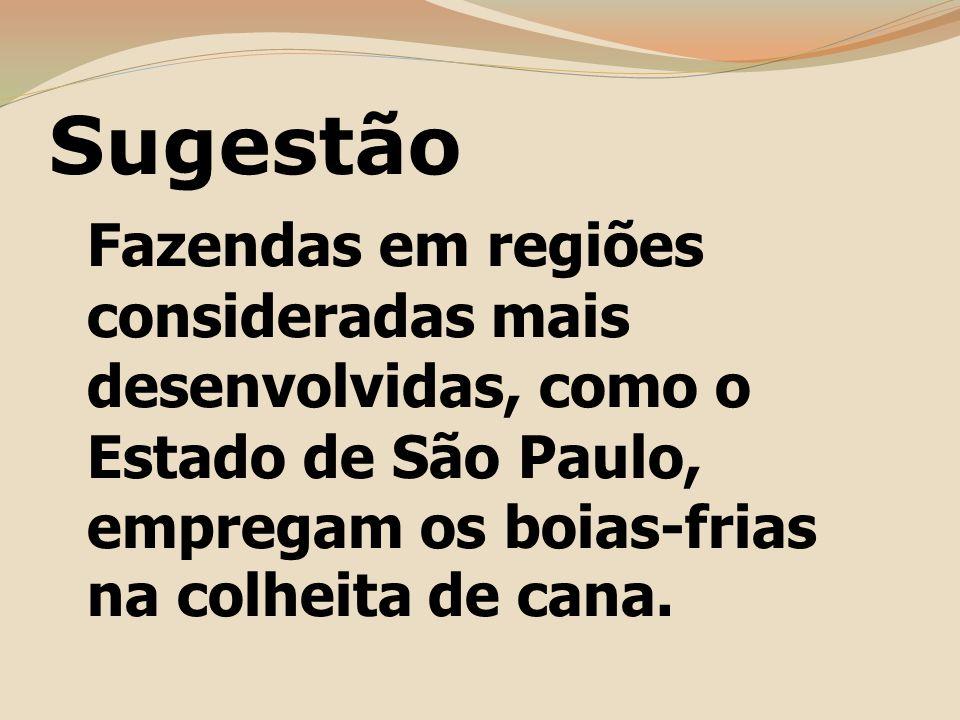 Sugestão Fazendas em regiões consideradas mais desenvolvidas, como o Estado de São Paulo, empregam os boias-frias na colheita de cana.