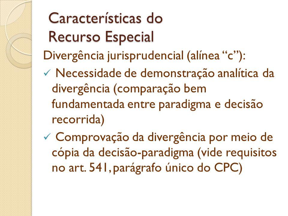 Características do Recurso Especial Divergência jurisprudencial (alínea c): Necessidade de demonstração analítica da divergência (comparação bem funda
