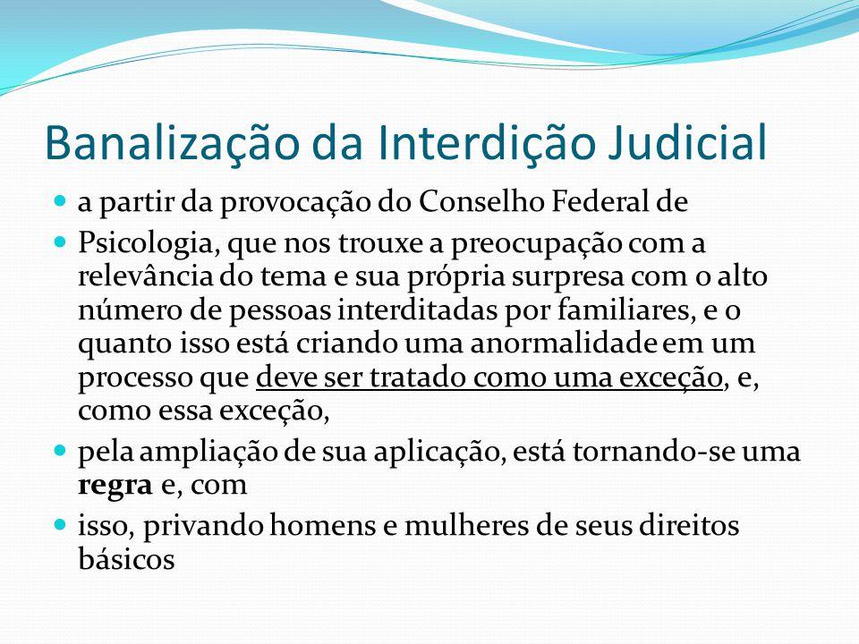 Banalização da Interdição Judicial a partir da provocação do Conselho Federal de Psicologia, que nos trouxe a preocupação com a relevância do tema e s