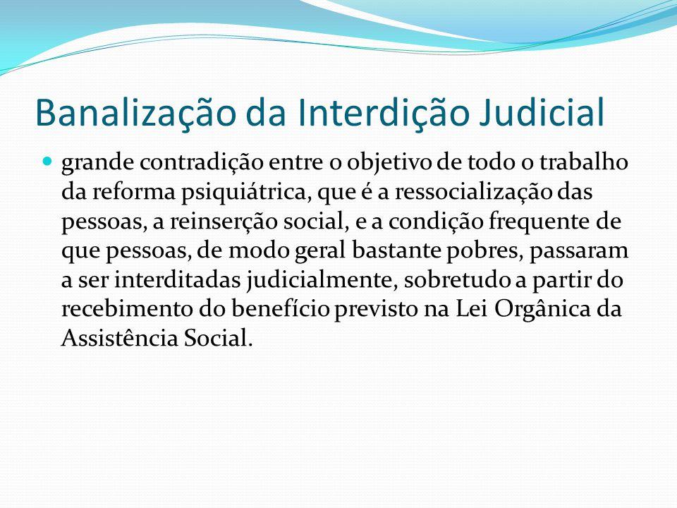 Banalização da Interdição Judicial grande contradição entre o objetivo de todo o trabalho da reforma psiquiátrica, que é a ressocialização das pessoas