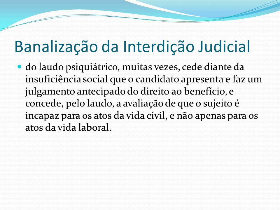 Banalização da Interdição Judicial do laudo psiquiátrico, muitas vezes, cede diante da insuficiência social que o candidato apresenta e faz um julgame