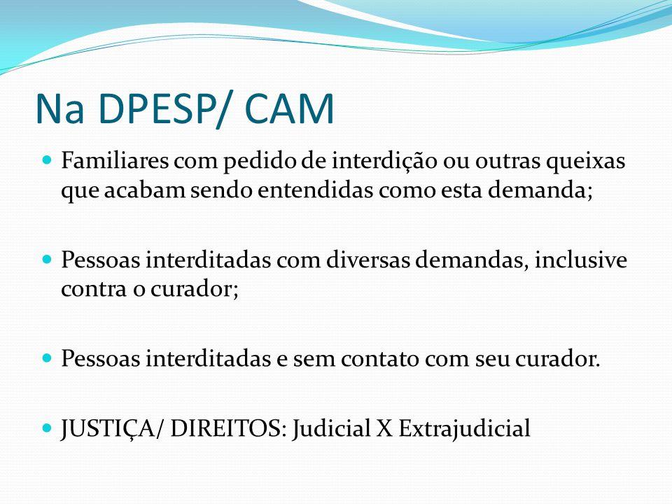 Na DPESP/ CAM Familiares com pedido de interdição ou outras queixas que acabam sendo entendidas como esta demanda; Pessoas interditadas com diversas d