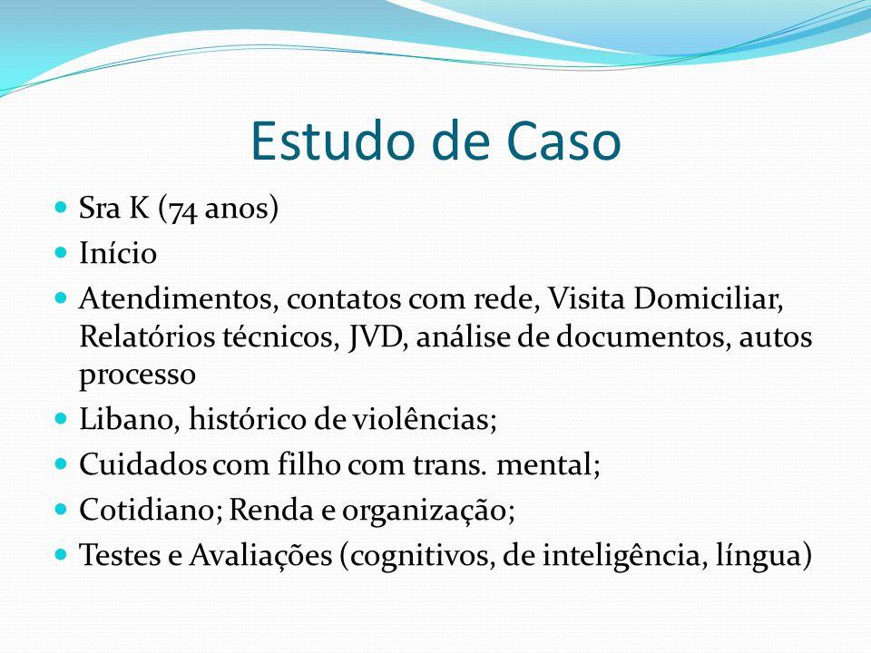 Estudo de Caso Sra K (74 anos) Início Atendimentos, contatos com rede, Visita Domiciliar, Relatórios técnicos, JVD, análise de documentos, autos proce