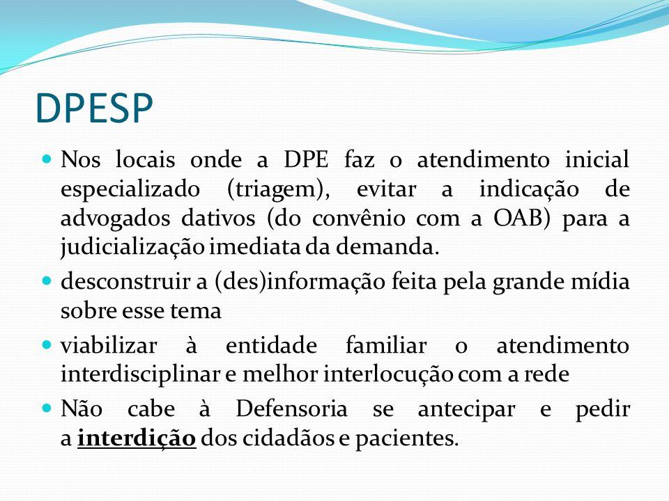 DPESP Nos locais onde a DPE faz o atendimento inicial especializado (triagem), evitar a indicação de advogados dativos (do convênio com a OAB) para a