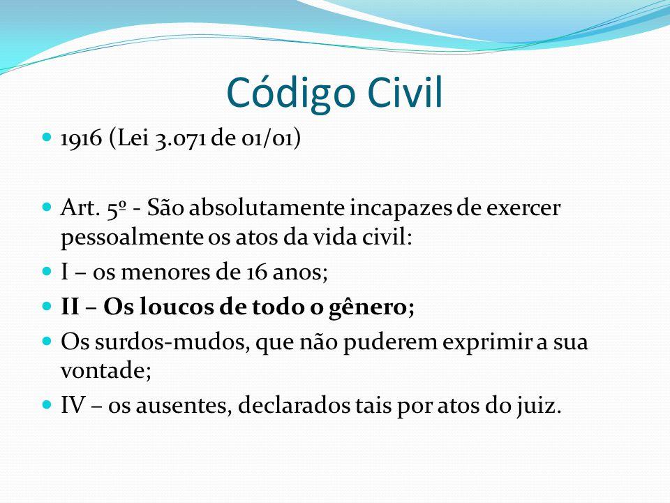 Código Civil 1916 (Lei 3.071 de 01/01) Art. 5º - São absolutamente incapazes de exercer pessoalmente os atos da vida civil: I – os menores de 16 anos;