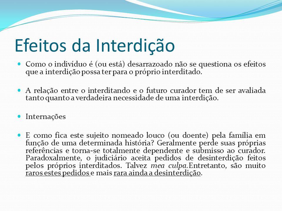 Efeitos da Interdição Como o indivíduo é (ou está) desarrazoado não se questiona os efeitos que a interdição possa ter para o próprio interditado. A r