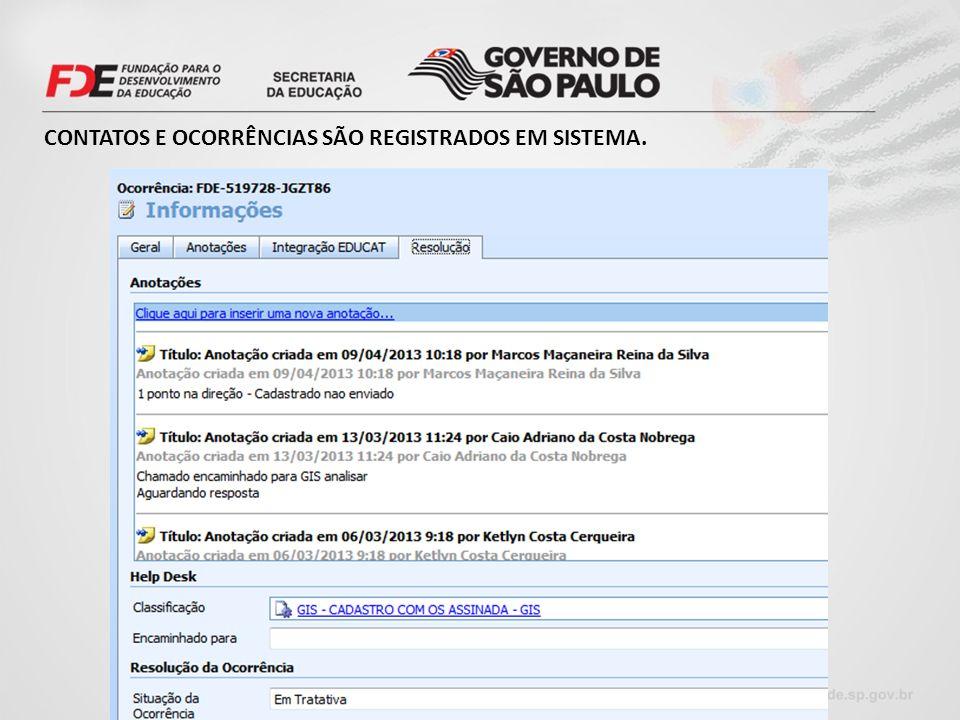 CONTATOS E OCORRÊNCIAS SÃO REGISTRADOS EM SISTEMA.