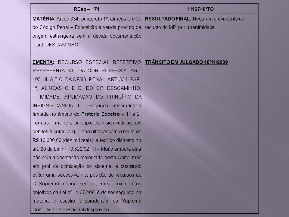 REsp – 1711112748/TO MATÉRIA: Artigo 334, parágrafo 1º, alíneas C e D, do Código Penal – Exposição à venda produto de origem estrangeira sem a devida