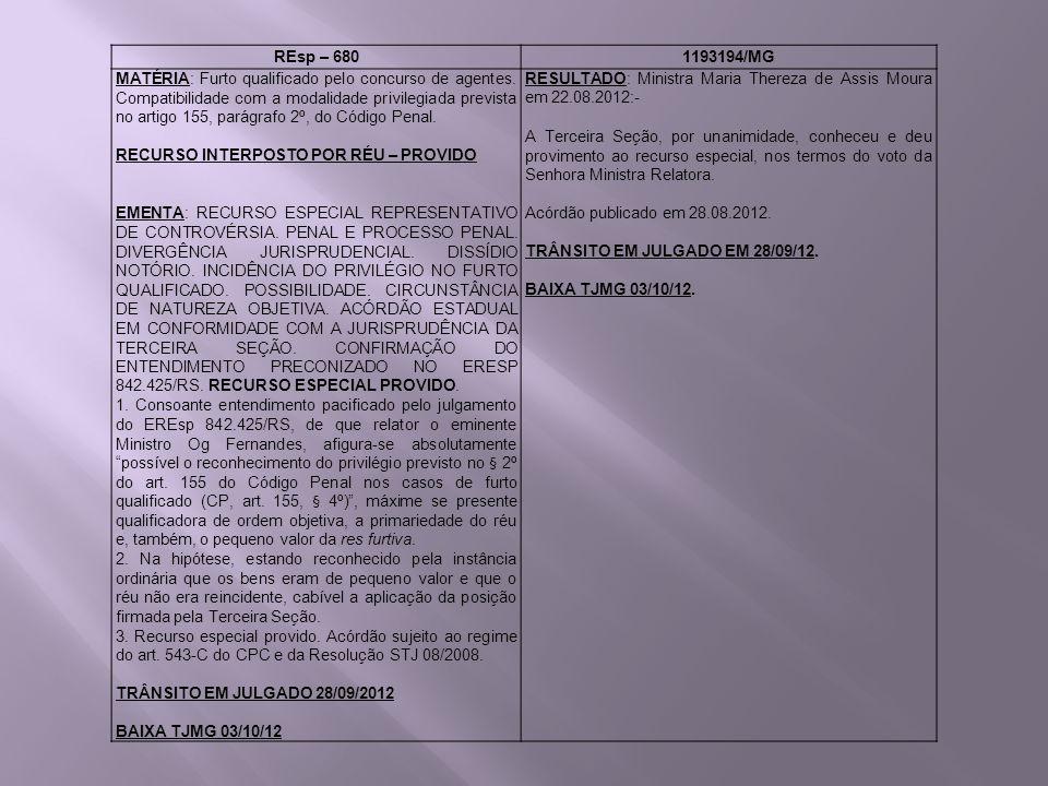 REsp – 6801193194/MG MATÉRIA: Furto qualificado pelo concurso de agentes. Compatibilidade com a modalidade privilegiada prevista no artigo 155, parágr