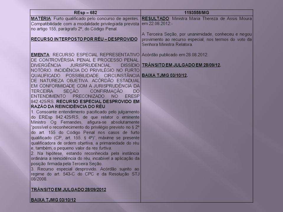 REsp – 6821193558/MG MATÉRIA: Furto qualificado pelo concurso de agentes. Compatibilidade com a modalidade privilegiada prevista no artigo 155, parágr