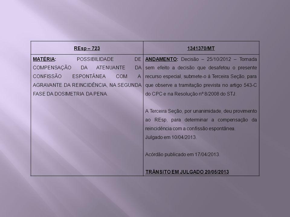 REsp – 7231341370/MT MATÉRIA: POSSIBILIDADE DE COMPENSAÇÃO DA ATENUANTE DA CONFISSÃO ESPONTÂNEA COM A AGRAVANTE DA REINCIDÊNCIA, NA SEGUNDA FASE DA DO