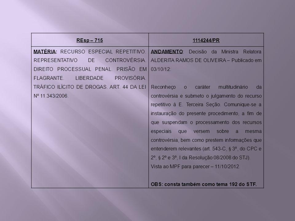 REsp – 7151114244/PR MATÉRIA: RECURSO ESPECIAL REPETITIVO. REPRESENTATIVO DE CONTROVÉRSIA. DIREITO PROCESSUAL PENAL. PRISÃO EM FLAGRANTE. LIBERDADE PR