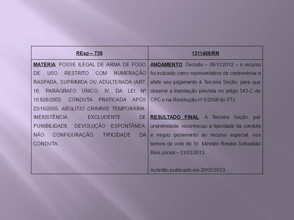 REsp – 7391311408/RN MATÉRIA: POSSE ILEGAL DE ARMA DE FOGO DE USO RESTRITO COM NUMERAÇÃO RASPADA, SUPRIMIDA OU ADULTERADA (ART. 16, PARÁGRAFO ÚNICO, I