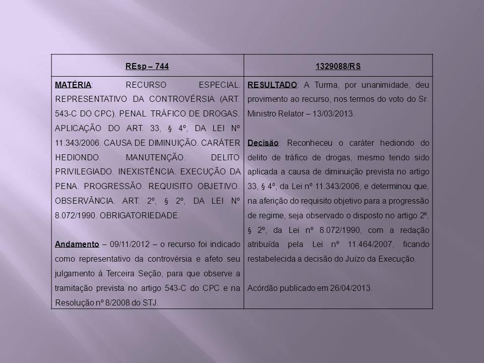 REsp – 7441329088/RS MATÉRIA: RECURSO ESPECIAL. REPRESENTATIVO DA CONTROVÉRSIA (ART. 543-C DO CPC). PENAL. TRÁFICO DE DROGAS. APLICAÇÃO DO ART. 33, §