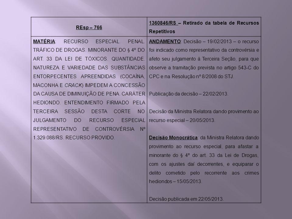 REsp – 766 1360846/RS – Retirado da tabela de Recursos Repetitivos MATÉRIA: RECURSO ESPECIAL. PENAL. TRÁFICO DE DROGAS. MINORANTE DO § 4º DO ART. 33 D