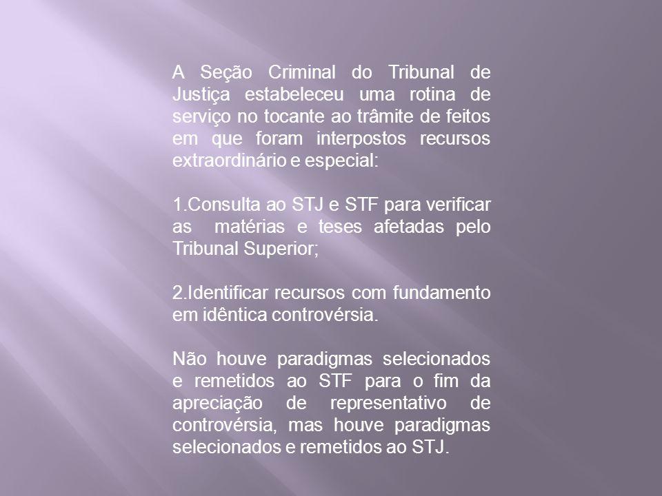 A Seção Criminal do Tribunal de Justiça estabeleceu uma rotina de serviço no tocante ao trâmite de feitos em que foram interpostos recursos extraordin