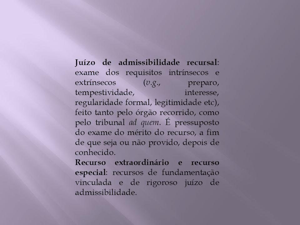 Juízo de admissibilidade recursal : exame dos requisitos intrínsecos e extrínsecos ( v.g., preparo, tempestividade, interesse, regularidade formal, le