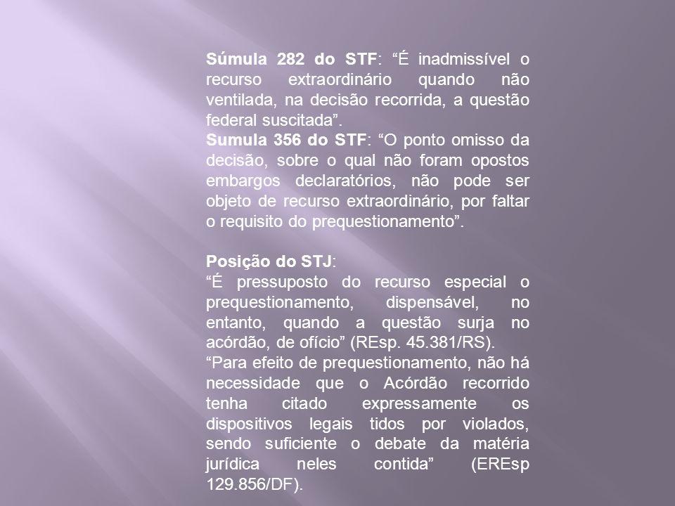 Súmula 282 do STF: É inadmissível o recurso extraordinário quando não ventilada, na decisão recorrida, a questão federal suscitada. Sumula 356 do STF: