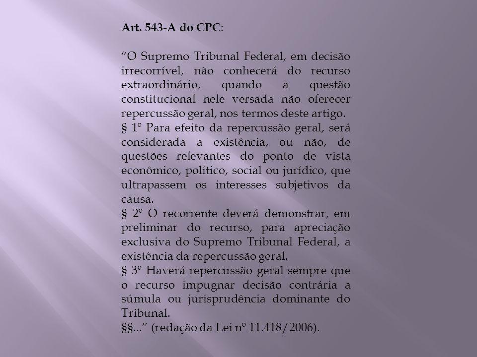 Art. 543-A do CPC : O Supremo Tribunal Federal, em decisão irrecorrível, não conhecerá do recurso extraordinário, quando a questão constitucional nele