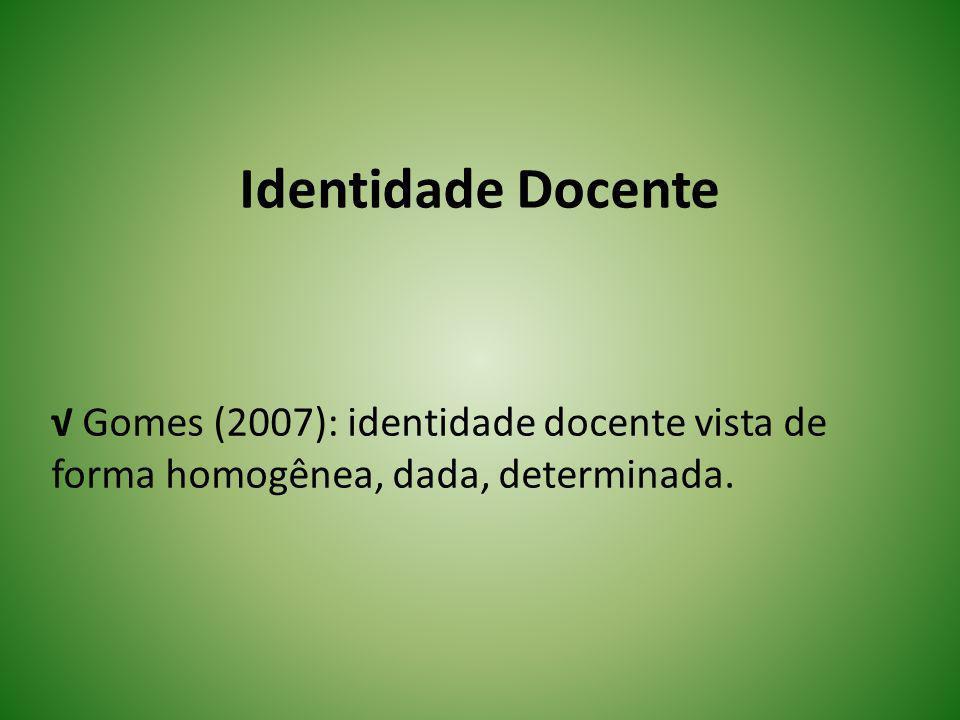 Identidade Docente Marcelo (2009): A construção da identidade docente se desenvolve num processo de interpretação de si mesmo dentro de um certo contexto.