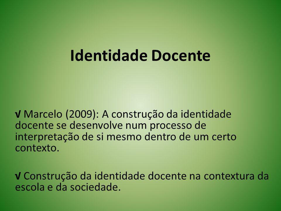 Identidade Docente Marcelo (2009): A construção da identidade docente se desenvolve num processo de interpretação de si mesmo dentro de um certo conte